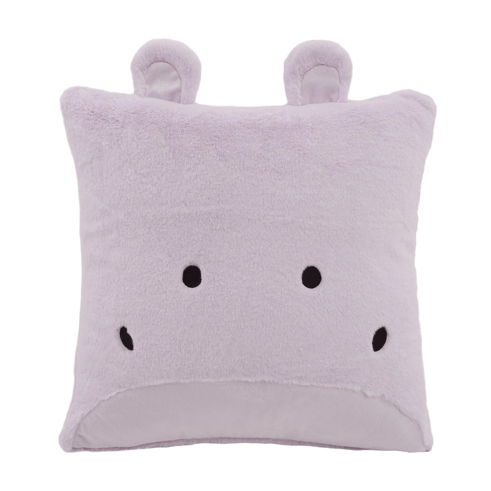 Aurora Home Animal Plush Faux Fur 18-inch Throw Pillow Lavender