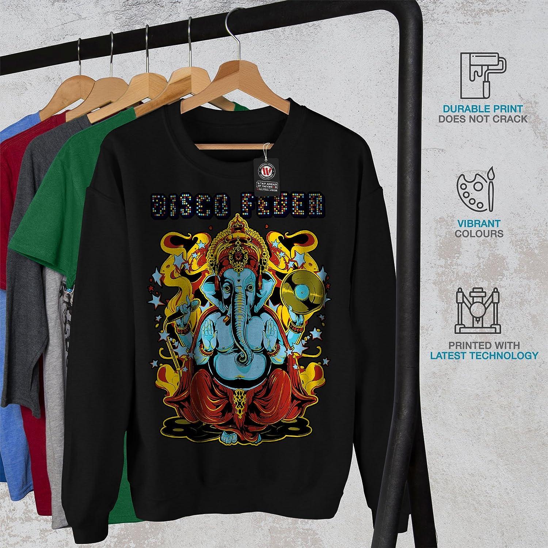 Ganesha Casual Jumper wellcoda Disco Fever Elephant Mens Sweatshirt