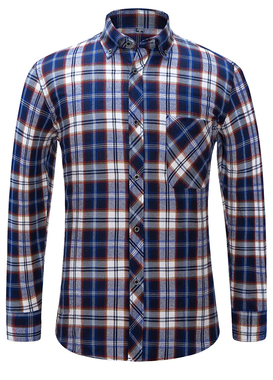 Alimens & Gentle Men's Button Down Regular Fit Long Sleeve Plaid Flannel Casual Shirts ALM-M-CS-PL-QSMG-1