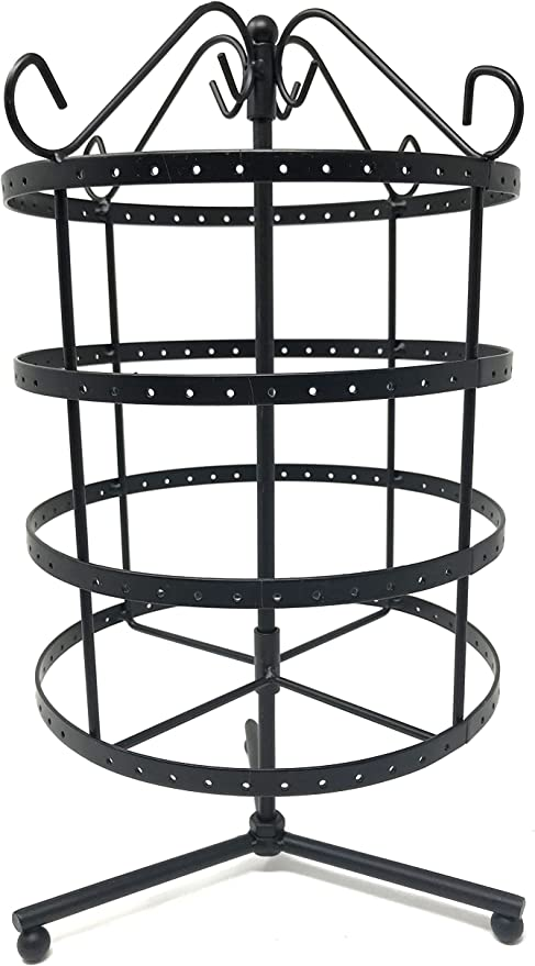 Amazon Com 4 Tiers Black Rotating 92 Pairs Earring Holder Necklace Organizer Stand Jewelry Stand Display Rack Towers Home Kitchen