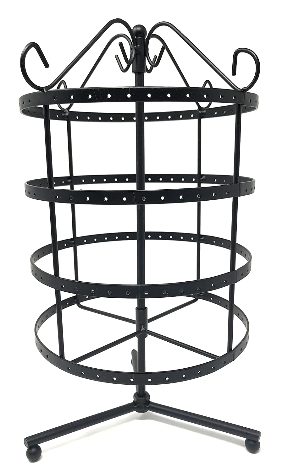 4 Tiers Rotating 92 pairs Earring Holder ~Necklace Organizer Stand ~ Jewelry Stand Display Rack Towers (Black) BJ Display