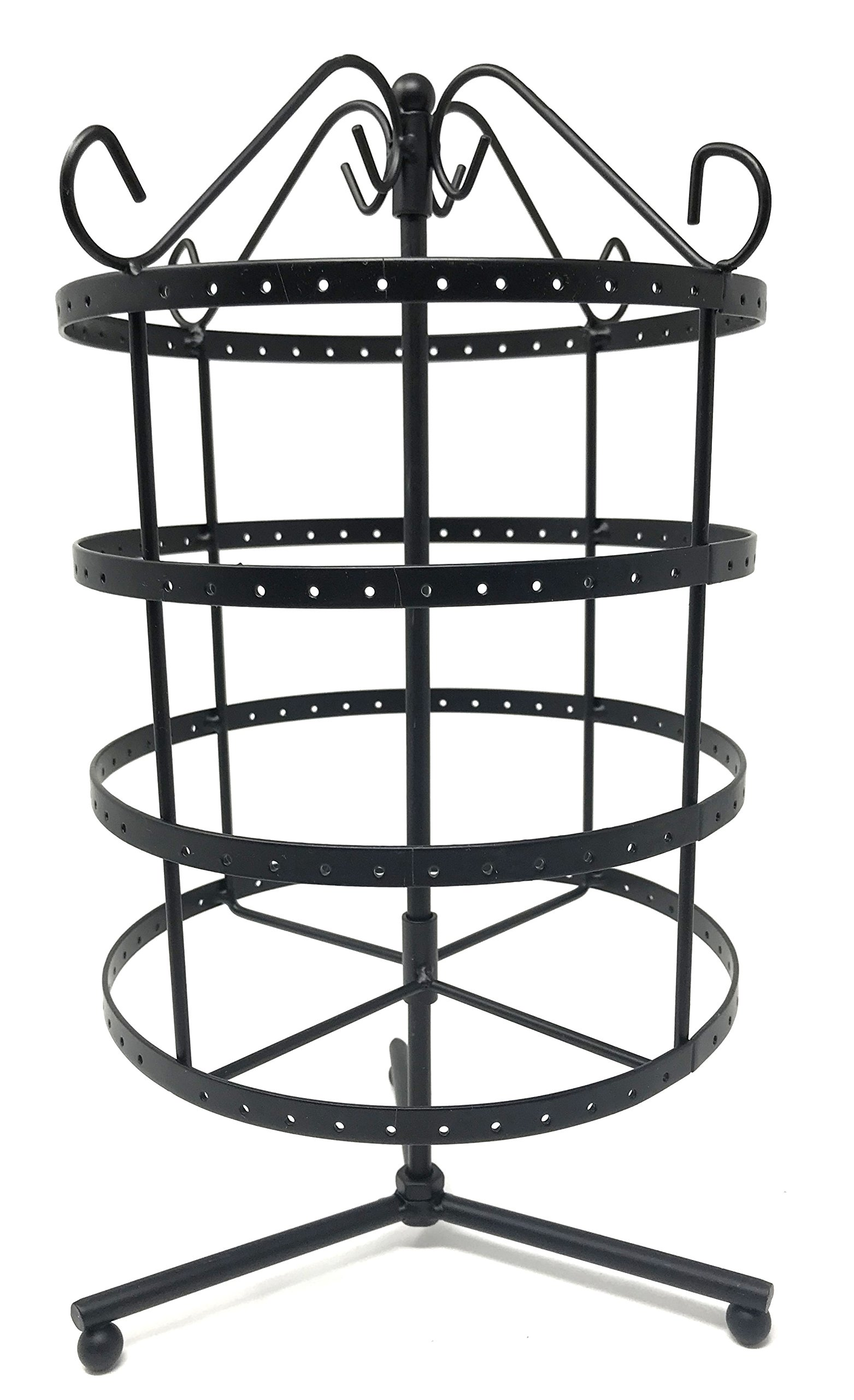 4 Tiers Black Rotating 92 pairs Earring Holder ~Necklace Organizer Stand ~ Jewelry Stand Display Rack Towers