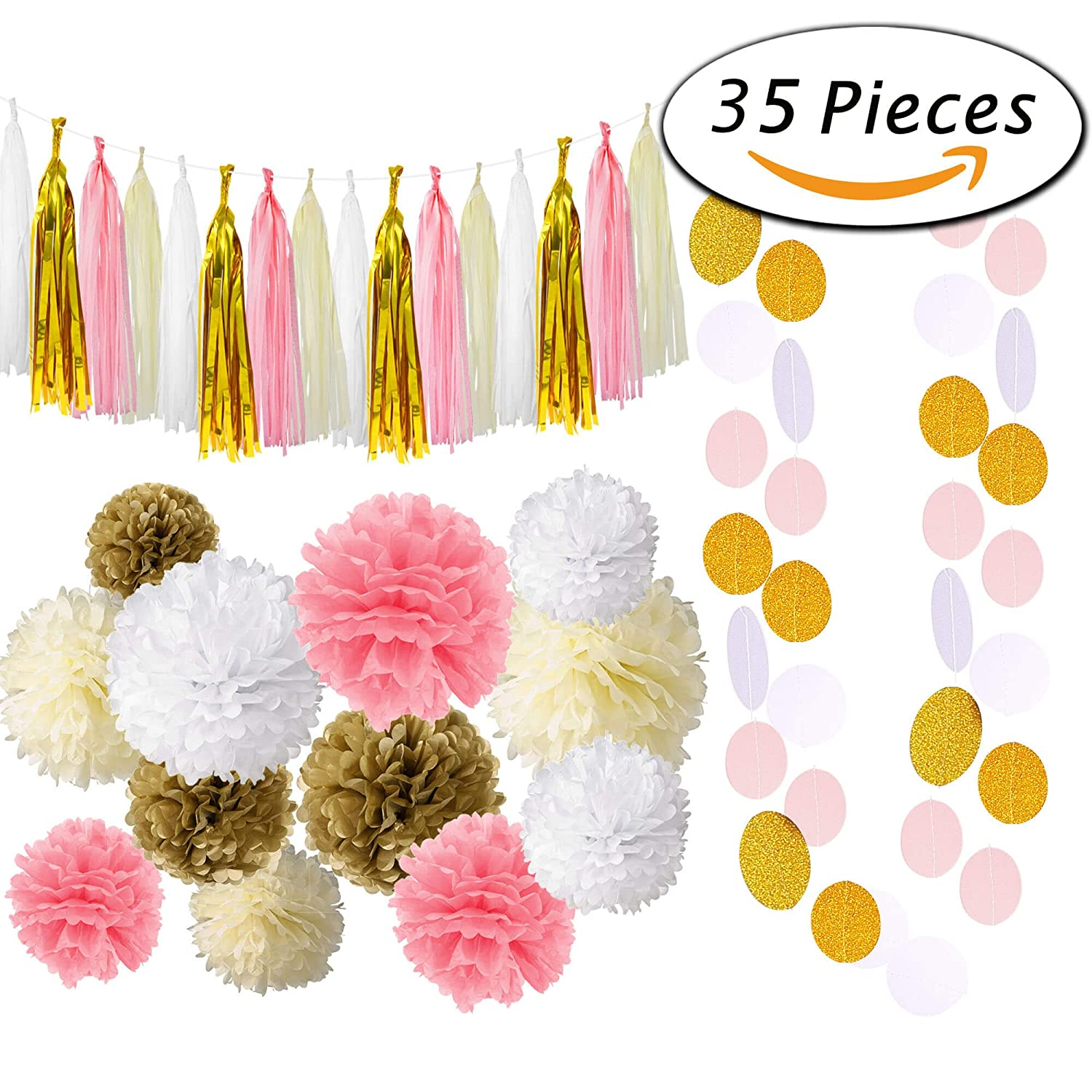 Gold color cardstock paper 5x7 - Paxcoo 35 Pcs Pink Gold Cream Tissue Pom Poms Paper Flowers Tissue Tassel Polka Dot Garland For 1st Birthday Baby Shower Decorations