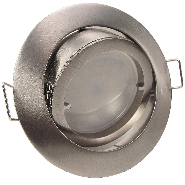 3er-Set LED Einbaustrahler PAGO 230V Farbe: Edelstahl gebürstet - inkl. austauschbarem LED-Leuchtmitte in Warm-Weiß Licht-Visionen Deutschland
