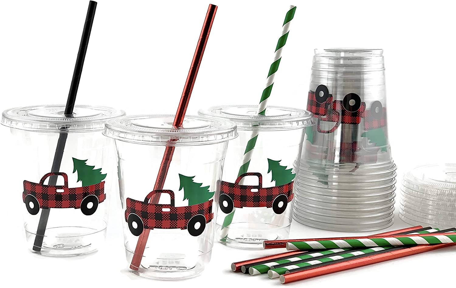 Buffalo Plaid Christmas Truck Holiday Party Plastic Beverage Cups Lids (12 Set)