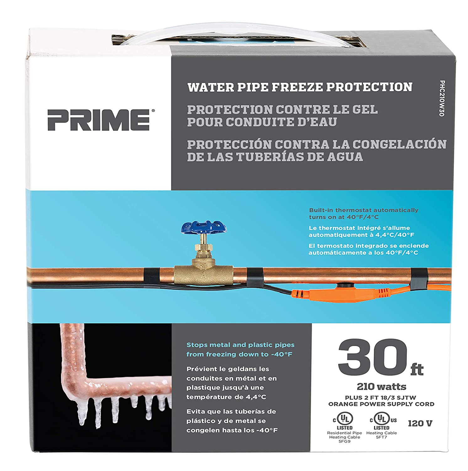 Prime Wire & Cable PHC210W30 DE-ICING CABLE WATER PIPE FREEZE PROTECTION - - Amazon.com
