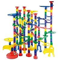 JOYIN Marble Run Premium Toy Set (207 Pcs), Construction Building Blocks Toys, STEM Educational Building Block Toy(147 Plastic Pieces + 60 Glass Marbles)