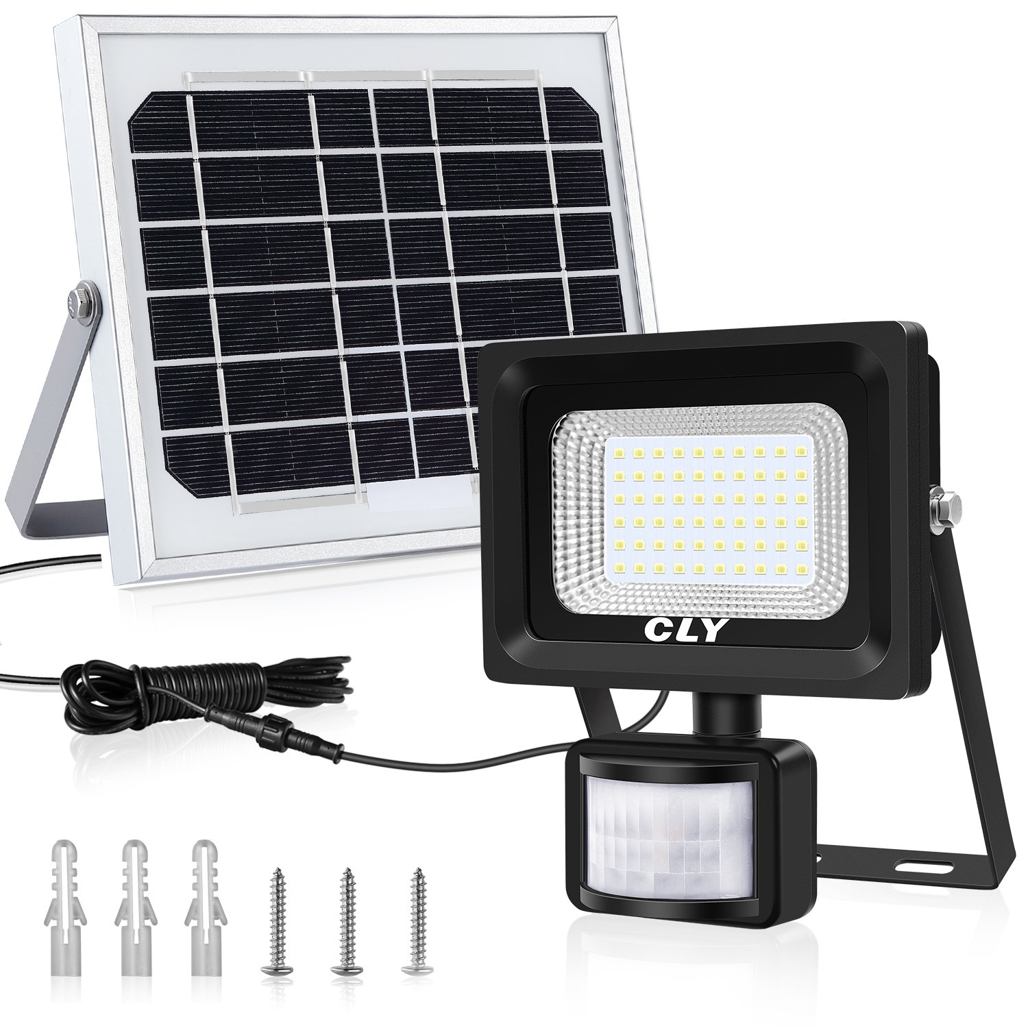Cly 60 LEDs Solar Light Motion Sensor Security Light, Daylight White, IP66 Waterproof, Solar PIR Lights Outdoor Solar Sensor Lights, Solar Flood Light [Energy Class A++]