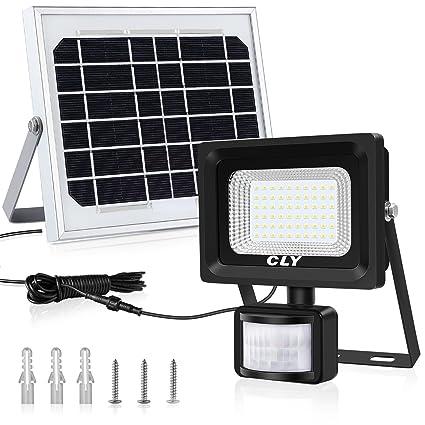 CLY Foco LED Solar con Sensor de Movimiento, Foco Solar LED Exterior, Luz Solar Jardin 60LED 6500K 400Lumens IP66 Impermeable, para Jardín, Patio, ...
