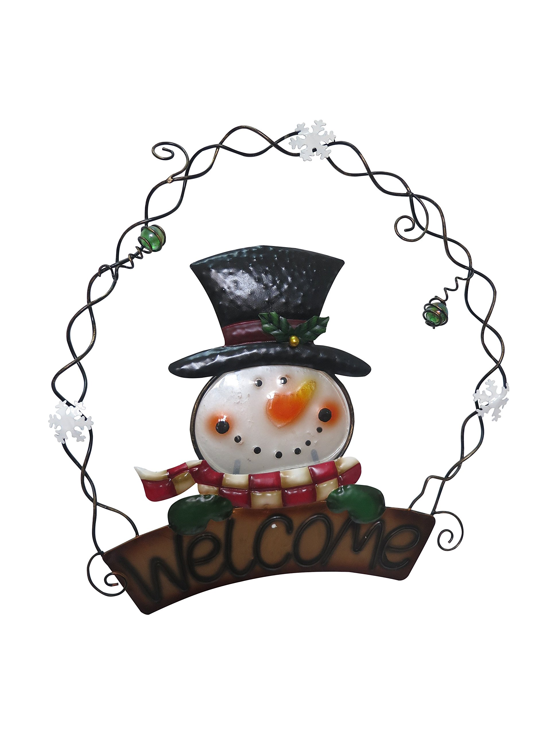 Alpine Corporation 13'' Metal & Glass Snowman Welcome Wall Hanging Decor