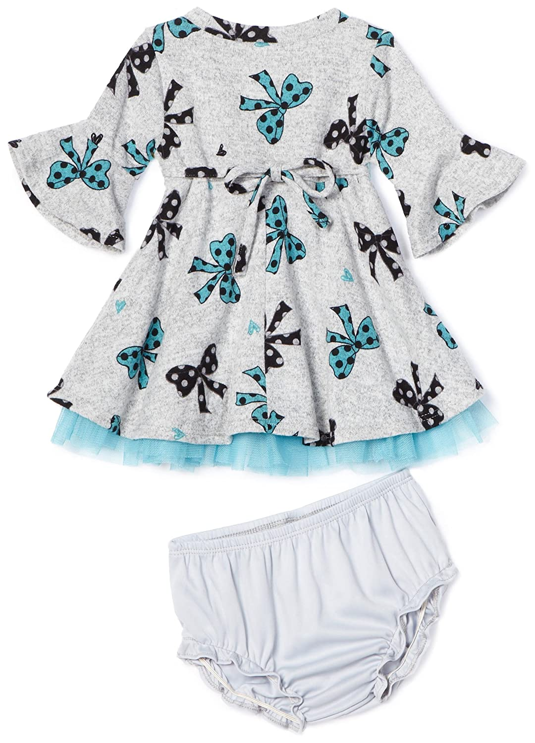 YOUNGLAND Baby Girls 3//4 Sleeve Bow Print Brushed Knit Dress With Panty