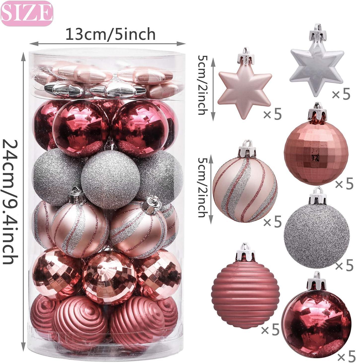 Victors Workshop 35Pcs Bolas de Navidad de 5cm, Adornos de Navidad para Arbol, Decoración de Bolas Navideños Inastillable Plástico de Rosa y Púrpura, Regalos de Colgantes de Navidad (Garapiñado): Amazon.es: Hogar