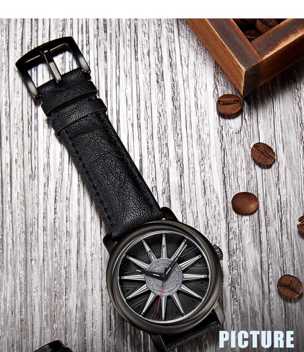 Herrklockor utrustning rullande urtavla vardaglig läderremsklocka Svart