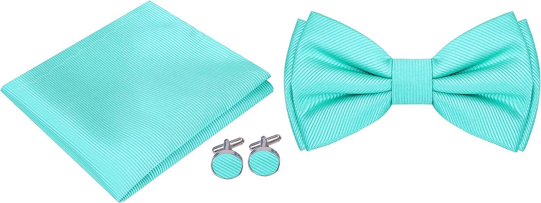 Twenty Dollar Tie Mens Silk Solid Pre-Tied Bow Tie Pocket Square and Cuff-links Set