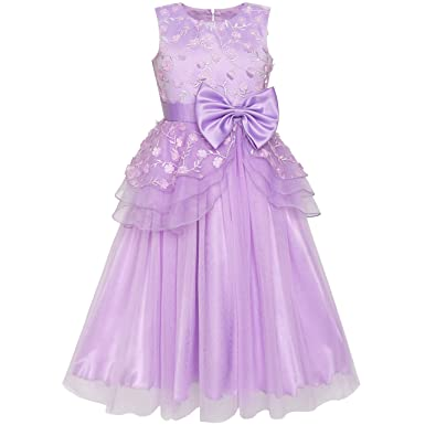 Flower Girls Dress Ball Gown Wedding Bridesmaid Bow Tie Size 6