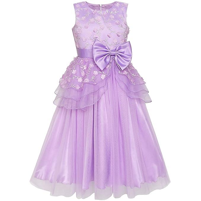 Sunny Fashion Vestido para niña Flor Pelota Vestido Boda Dama de Honor Corbata de moño 6-12 años: Amazon.es: Ropa y accesorios