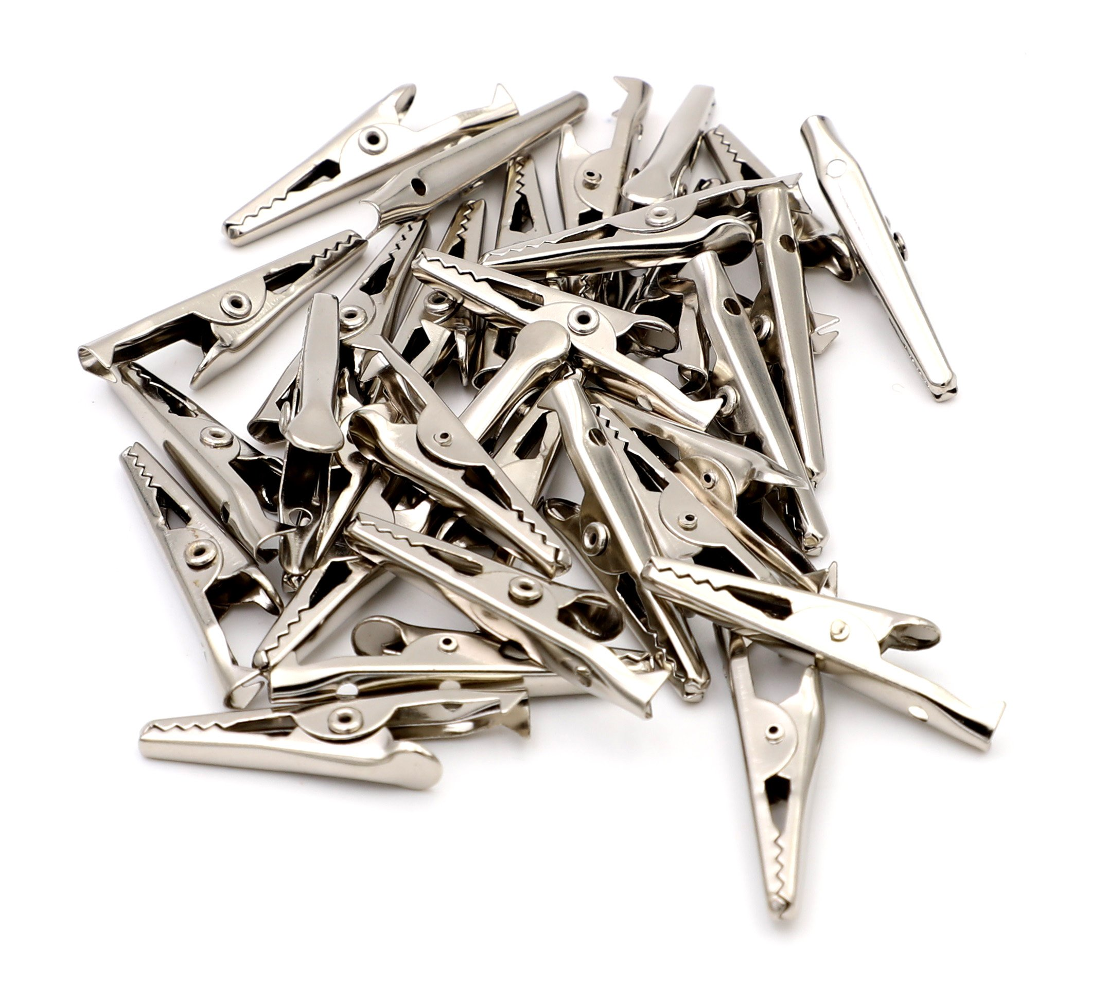 iexcell 100 Pcs Mini Silver Tone Metal Alligator Clip Crocodile Clamps