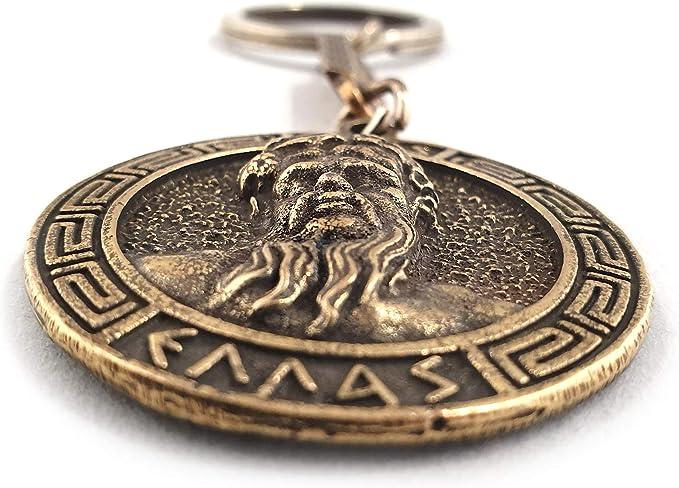 Iconsgr Schlüsselanhänger Mit Antiker Münze Zeus Schild God Zeus Küche Haushalt