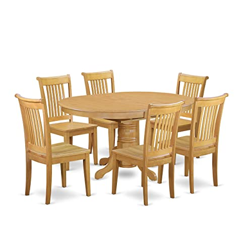AVPO7-OAK-W 7 Pc Dining set with a Kitchen Table and 6 Wood Seat Kitchen Chairs in Oak