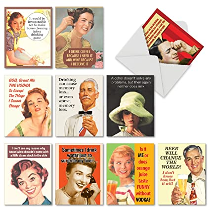 10 Retro Toasts Funny Happy Birthday Cards With Envelopes 4 X 512 Inch