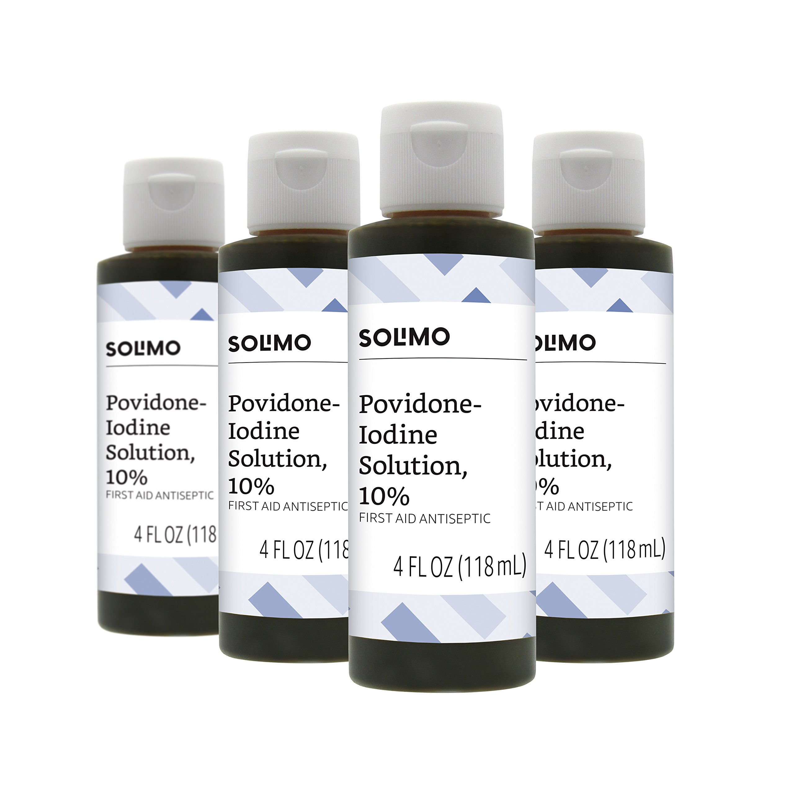 Amazon Brand - Solimo 10% Povidone Iodine Solution First Aid Antiseptic, 4 Fluid Ounce (Pack of 4)
