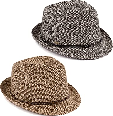 fd6025b6c3f39 H-6108-2-5030607 Fedora Bundle  2 Pack - Black   Brown w Beaded Ropes at  Amazon Women s Clothing store