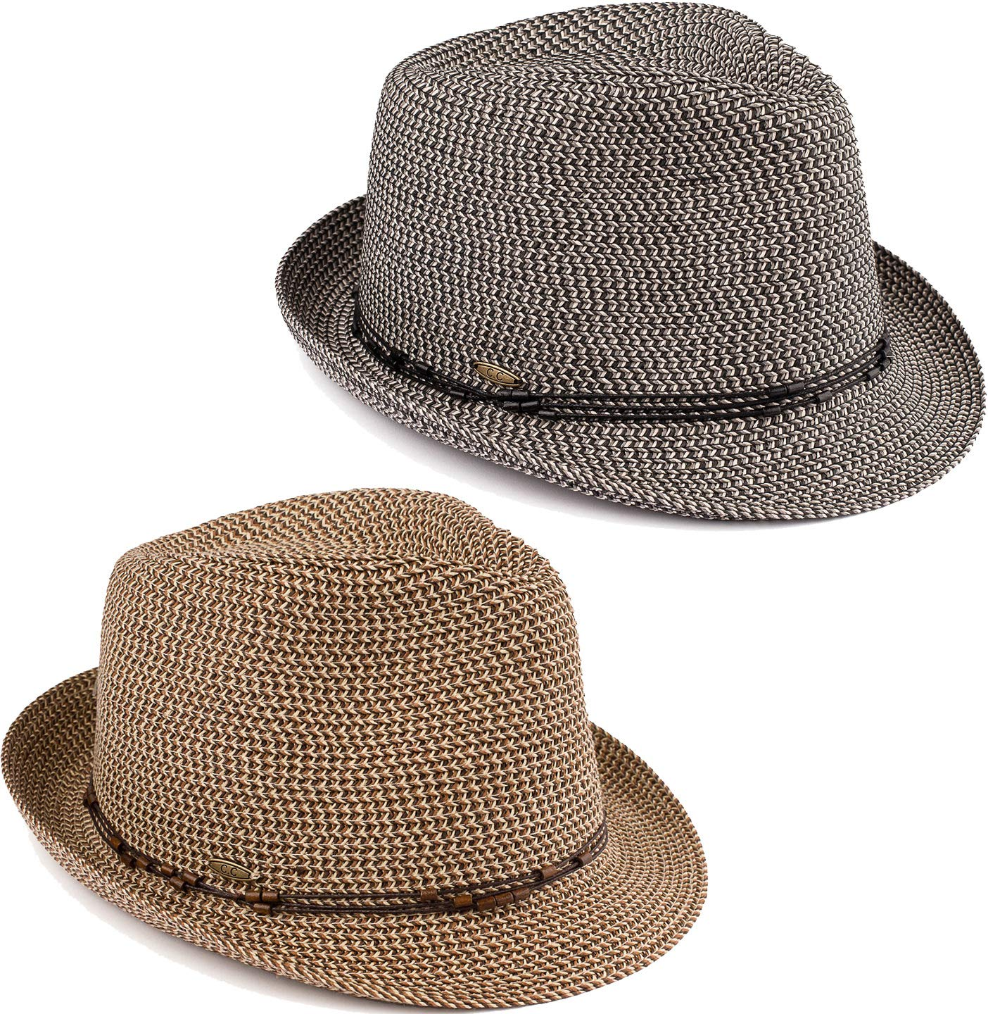 H-6108-2-5030607 Fedora Bundle: 2 Pack - Black & Brown w/Beaded Ropes