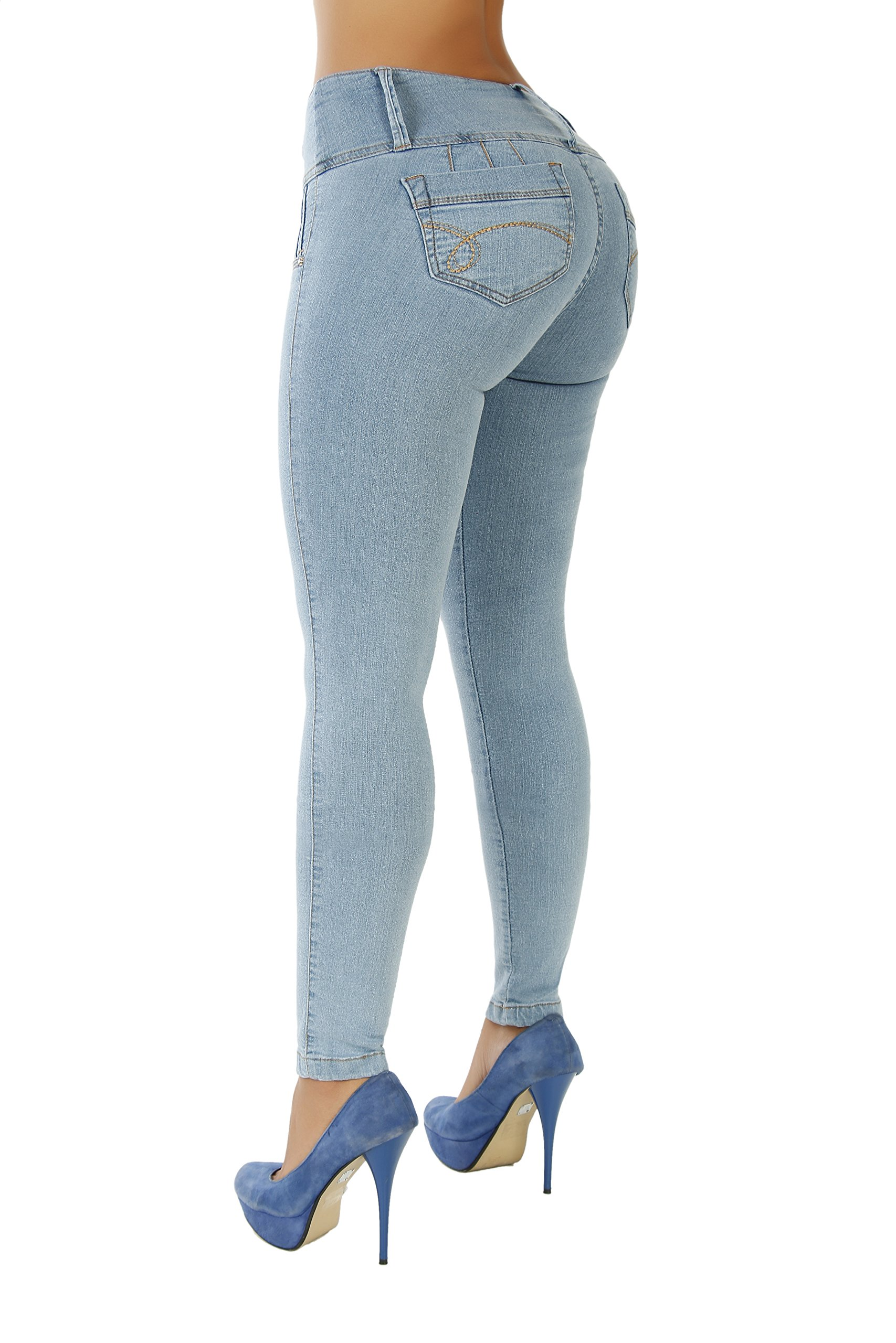 Curvify High Waisted Butt Lifting Slimming Jeans for Women - Skinny Stretch Jean 766(766, Sky Blue, 15)