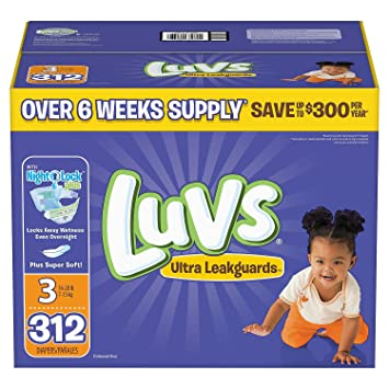 Amazon.com : Luvs Ultra Leakguards Diapers, Size 3, 312 Count : Baby