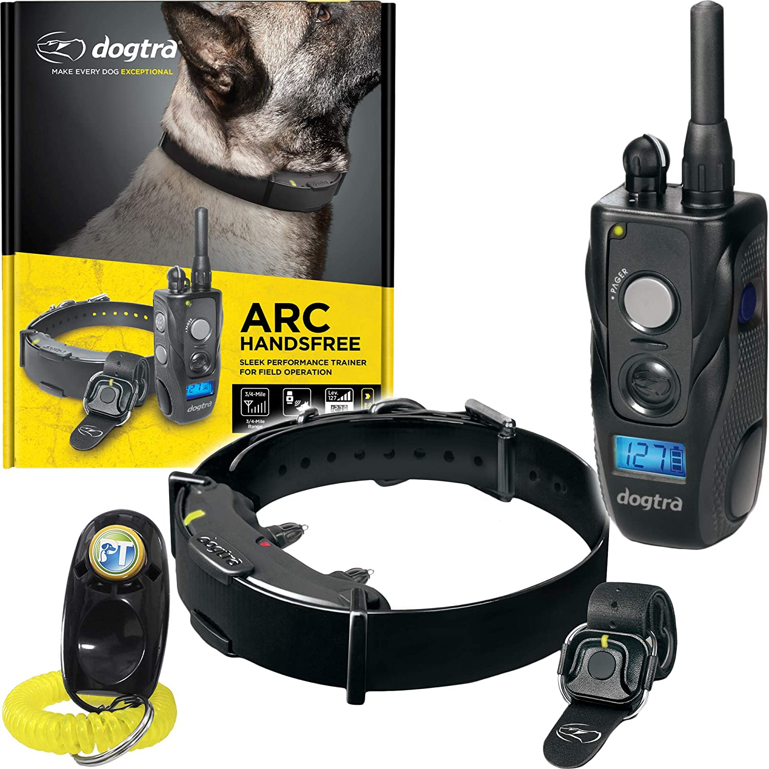 Dogtra ARC HANDSFREE Remote Training Dog Collar – 3 4 Mile Range, Hands Free Remote Controller, Waterproof, Rechargeable, Shock, Vibration – Includes PetsTEK Dog Training Clicker