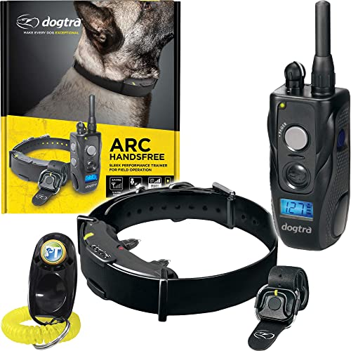 Dogtra ARC HANDSFREE Remote Training Dog Collar – 3 4 Mile Range, Hands free Remote Controller, Waterproof, Rechargeable, 127 Training Levels, Vibration – includes PetsTEK Dog Training Clicker