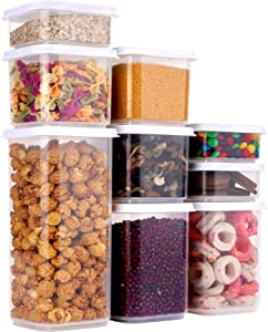 Airtight Food Storage Container Set with Lids, 9 pcs Kitchen & Pantry Organization Plastic Cereal BPA Free Clear Canisters for Organizing with Scale, Freezer Dishwasher Safe for Flour Sugar, White