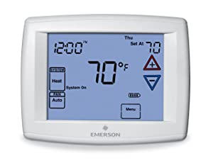 Emerson 1F97-1277 Touchscreen 7-Day Programmable Thermostat for Single-Stage and Heat Pump Systems