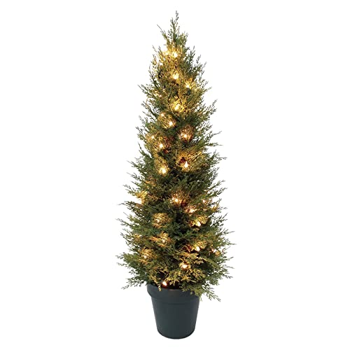 Artificial Christmas Trees Amazon Uk: Set Of 2 Light Up Prelit Artificial Pine Indoor/Outdoor
