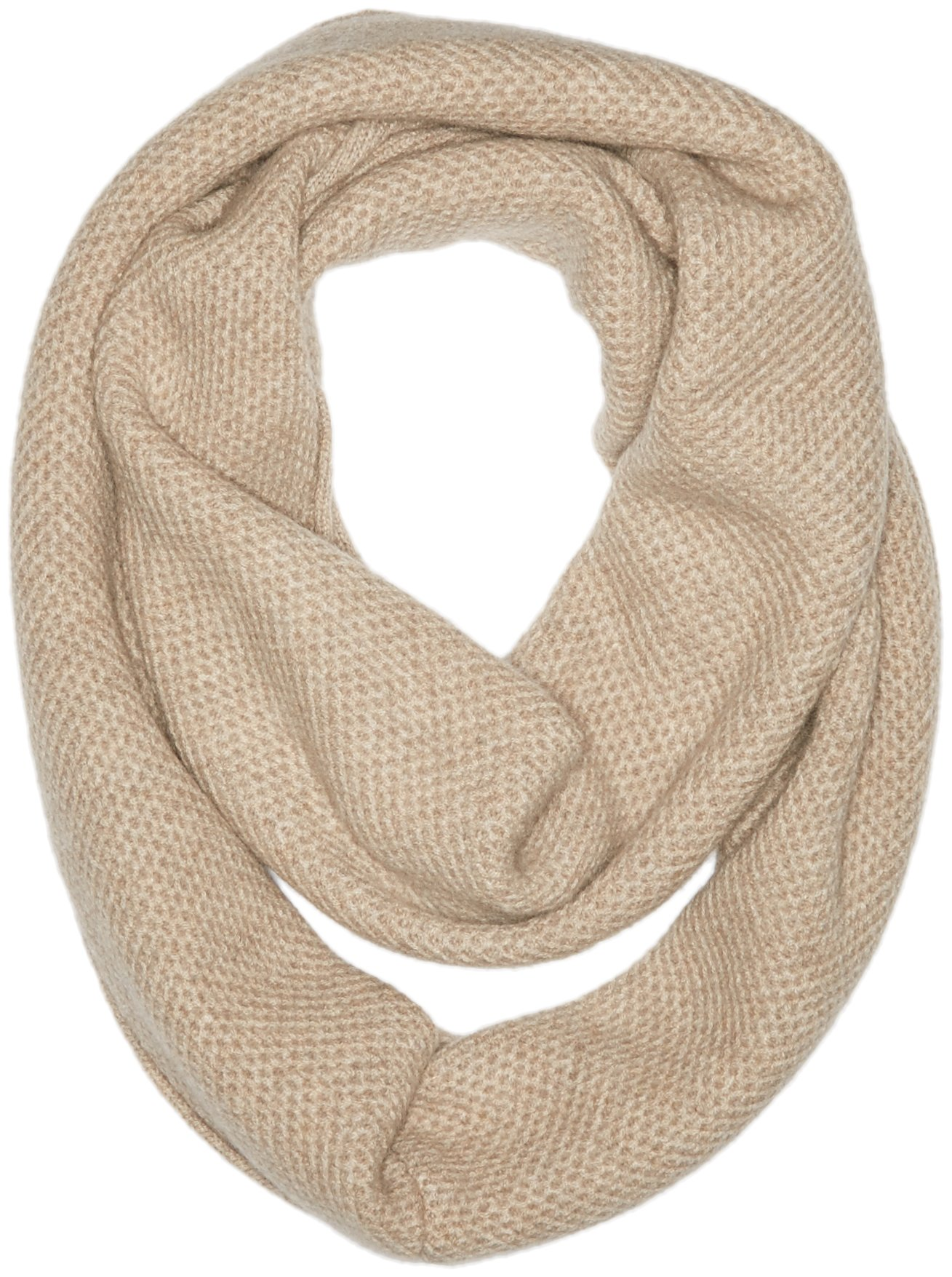 Sofia Cashmere Women's 100% Cashmere Honeycomb Infinity Scarf, Dark Natural, One