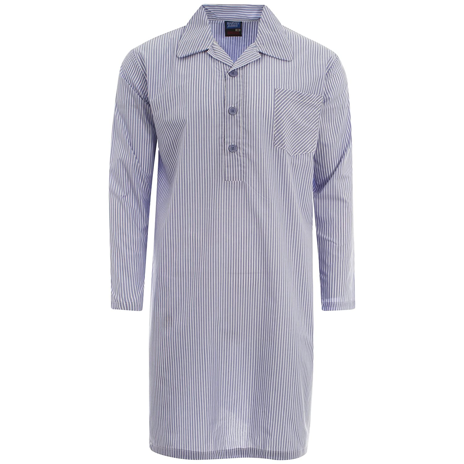 Harvey James Mens Yarn Dyed Long Sleeve Nightshirt Pajama Top