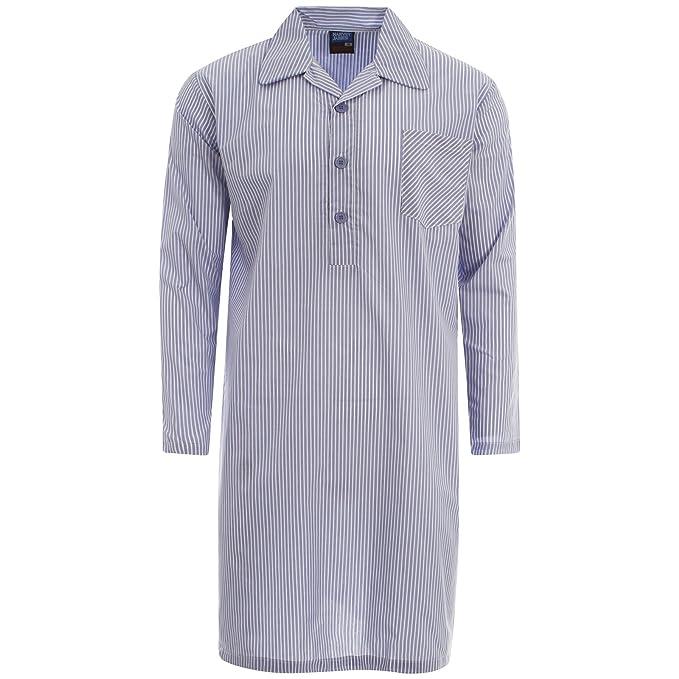 Harvey James Poly Cotton Hilo teñida Hombre Camisón Pijama Mid Azul Claro Azul M – XXL