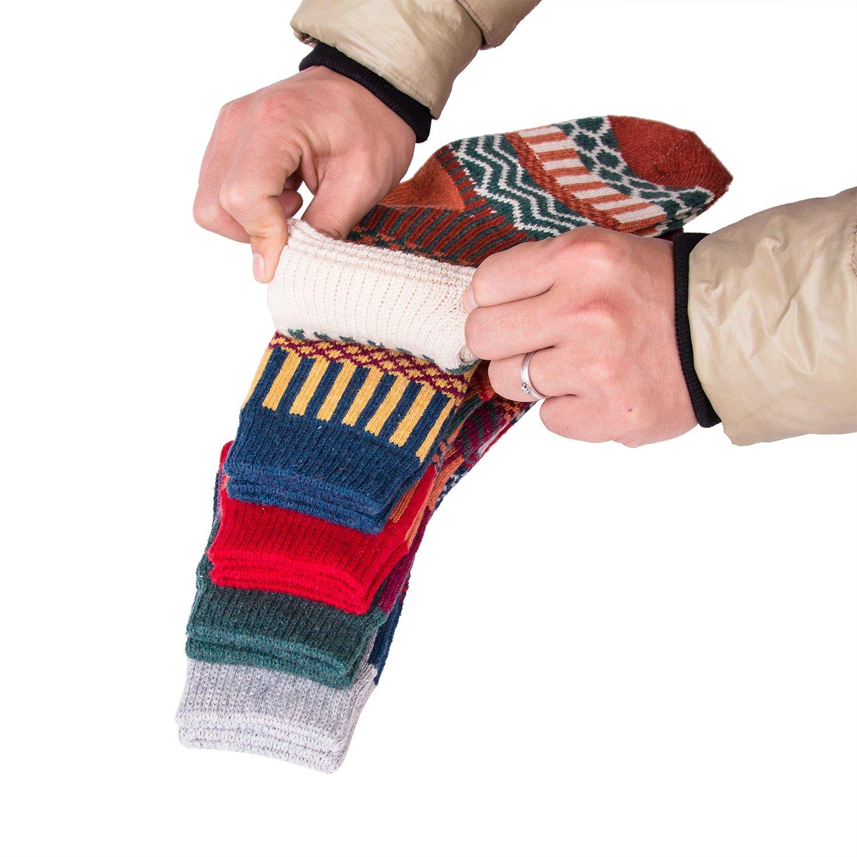 Yannik Women 5 Pair Pack Vintage Style Cotton Knitting Wool Winter Crew Socks