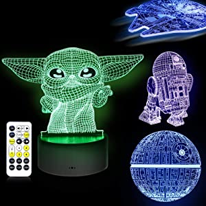 3D Illusion Star Wars Night Light,4 Pattern with Timing Function Star Wars Toys LED Night Lamp for Room Decor,Great Birthday Gifts for Kids and Star Wars Fans Boys Girls Men