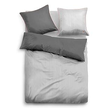 Tom Tailor Satin Bettwäsche Mit Reißverschluss Grau 155x220 Cm