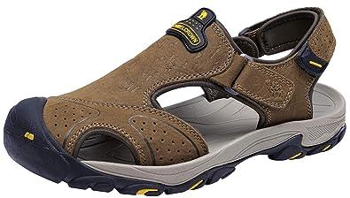 Crown Sports Sandales Homme Pour Cuir Outdoor Bout Fermé De Marche Randonnée Sandale Camel vN0m8wn