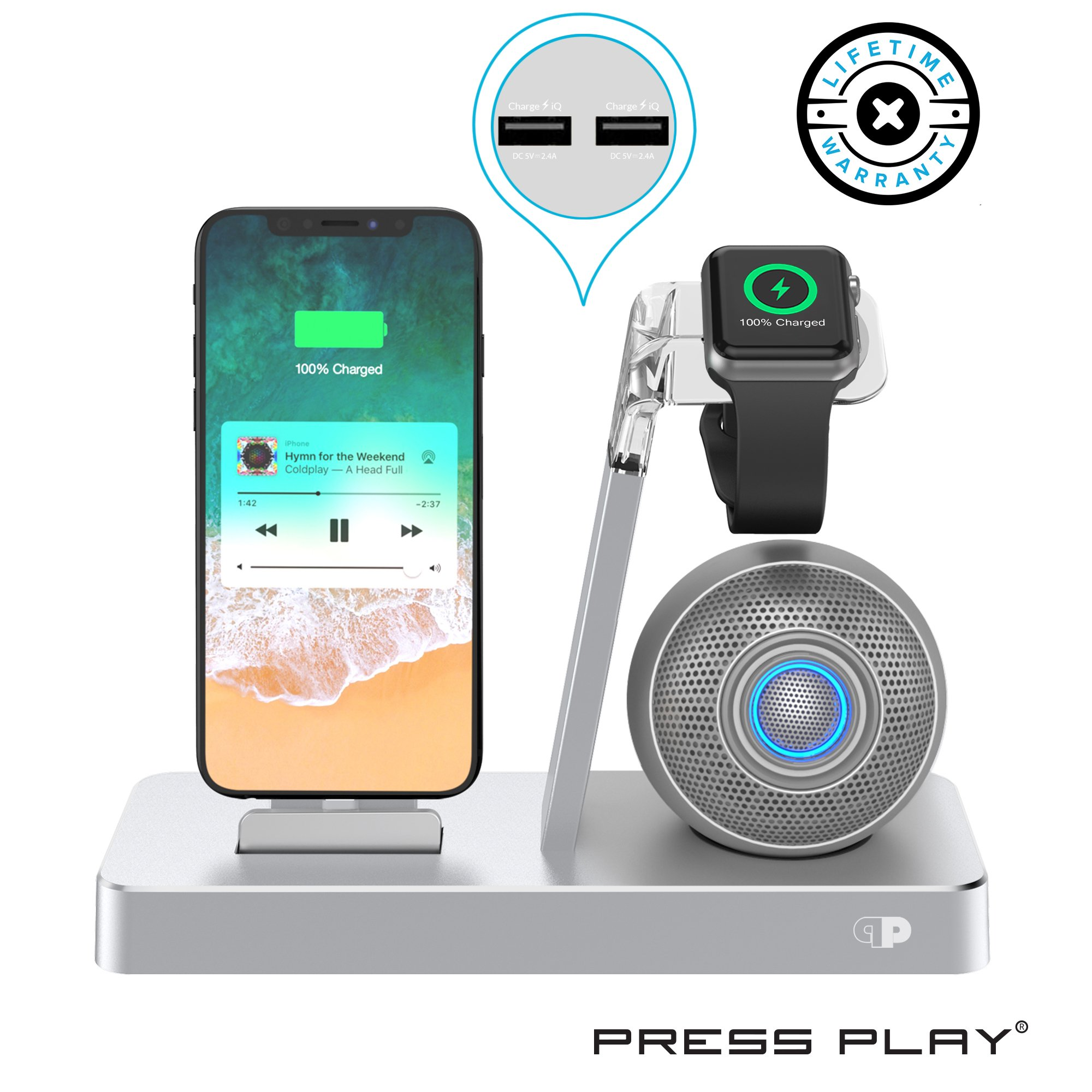 Press Play ONE Dock Beat [Apple Certified] Power Station + Wireless Speaker Dock, Stand & Charger for Apple Watch Smart Watch, iPhone, iPad & iPod w/Original Lightning Connector