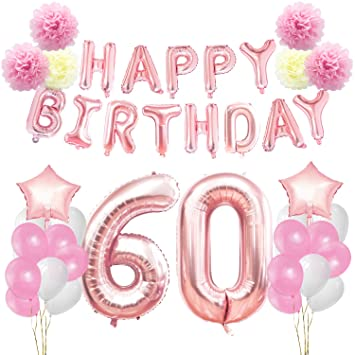 KUNGYO 60th Birthday Decorations Kit Rose Gold Happy Banner Giant Number 60 Star