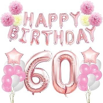 Fiori 60 Anni.Kungyo Rosa Oro Buon Compleanno Decorazioni Kit Per 60 Anni Rose