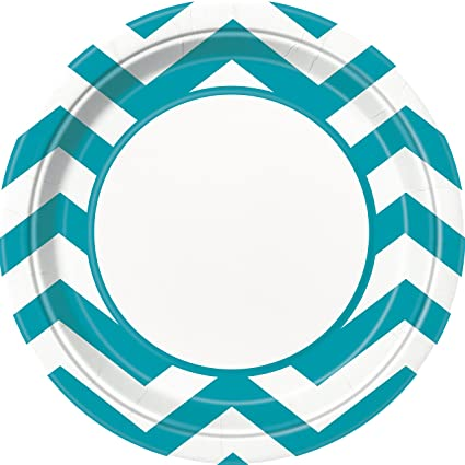 Teal Chevron Paper Plates 8ct  sc 1 st  Amazon.com & Amazon.com: Teal Chevron Paper Plates 8ct: Kitchen \u0026 Dining