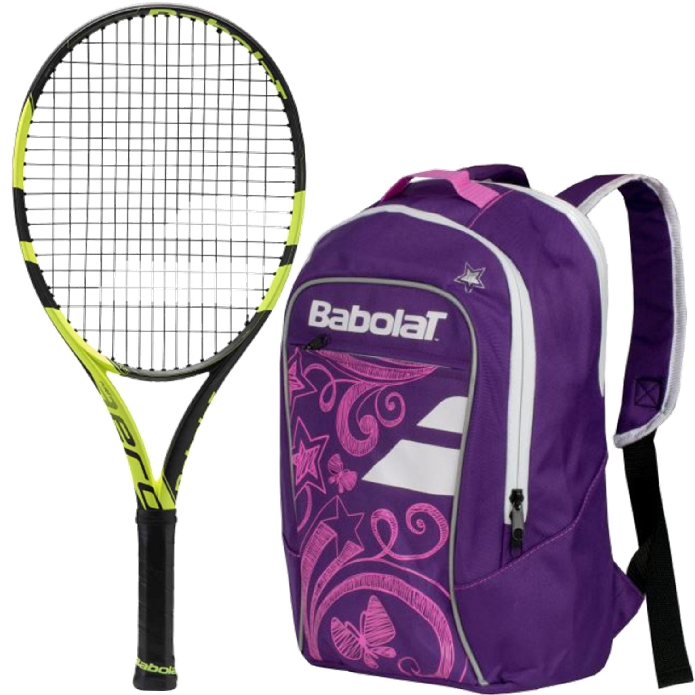 Babolat Pure Aero Junior 25'' Tennis Racquet (Black/Yellow) bundled with Girl's Club Tennis Backpack (Purple)