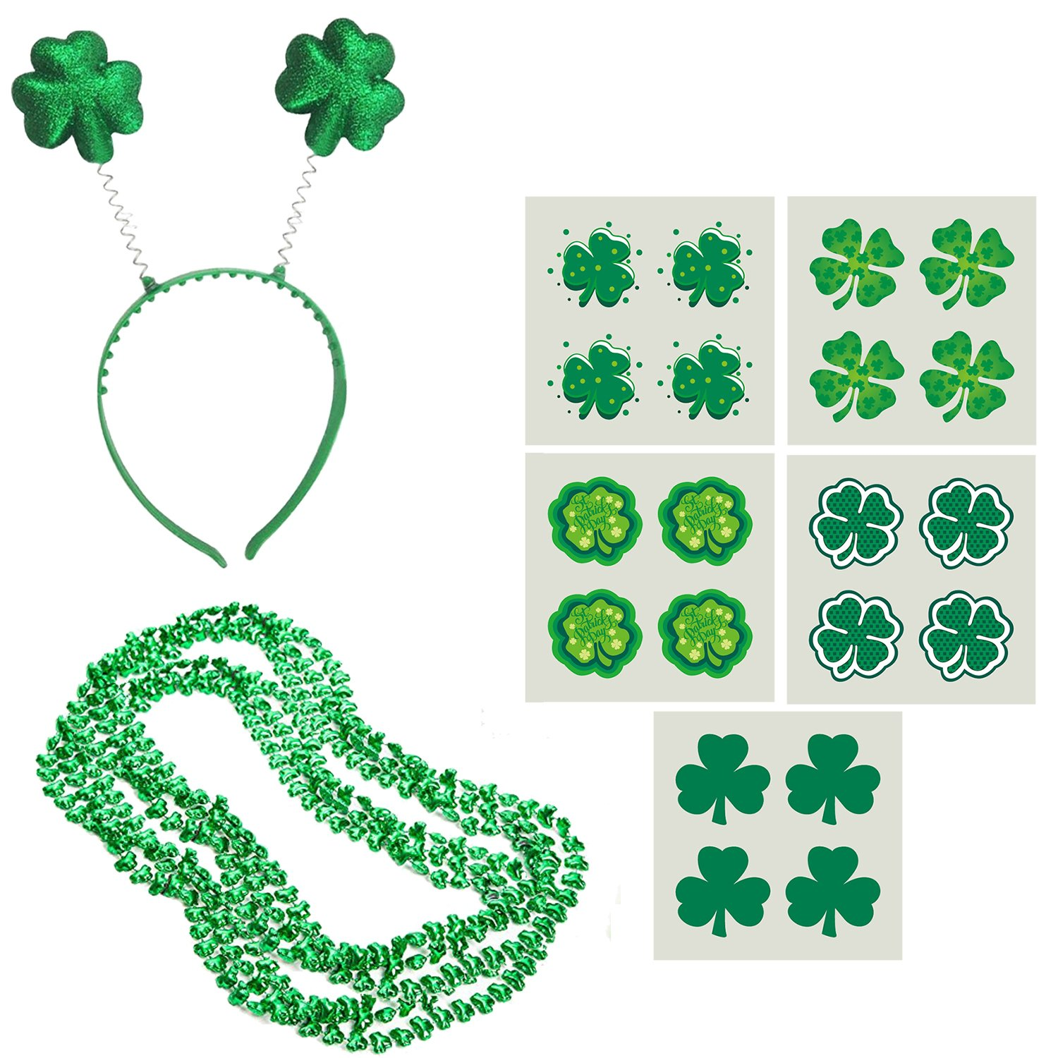 Amazon st patricks day accessories set 20 x shamrock amazon st patricks day accessories set 20 x shamrock patterned temporary tattoos 6 x st patricks day beads shamrock necklace 6 x green buycottarizona Images