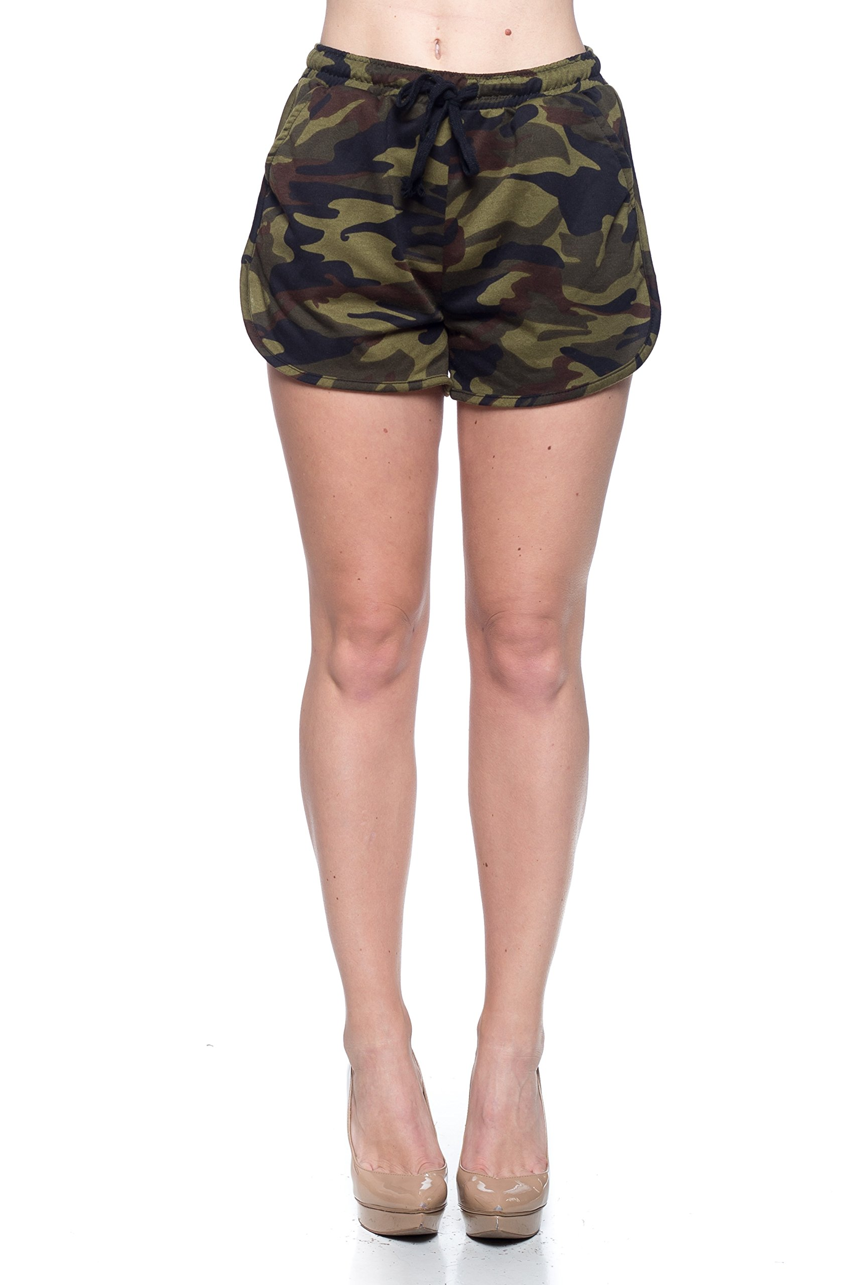 Calilogo Women's Weed Marijuana Pot Leaf Army Drawstring Shorts (Small / Medium, Army Shorts)