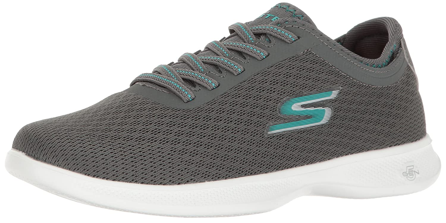Skechers Damen Go Step Lite-Interstelllar Sneaker  9 B(M) US|Charcoal/Teal Mesh