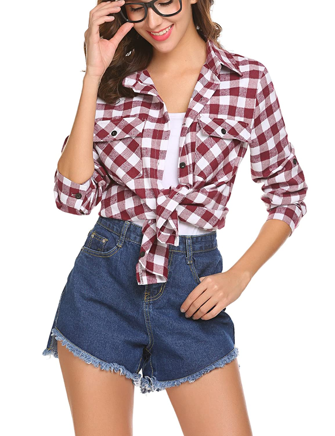 OURS Women's Casual Roll Up Long Sleeve Boyfriend Plaid